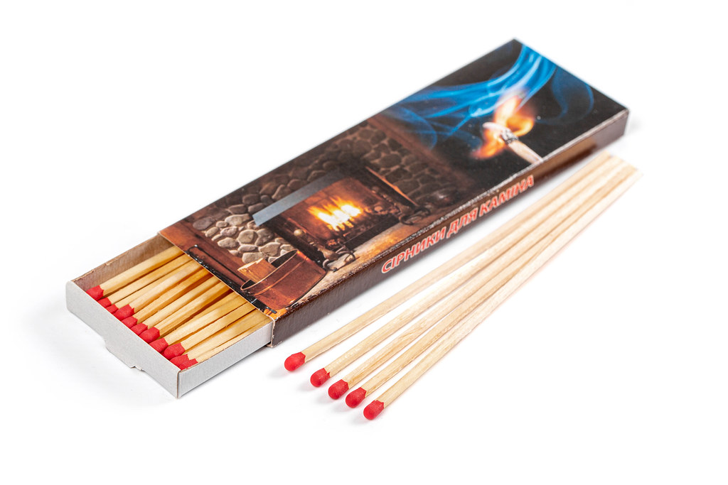 Fireplace matches in a box on a white background
