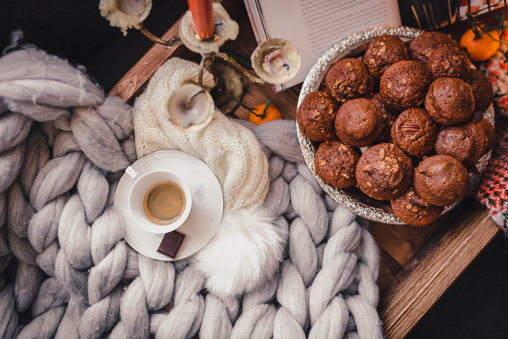 Flat Lay With Espresso And Chocolate Muffins And Knitted Scarf
