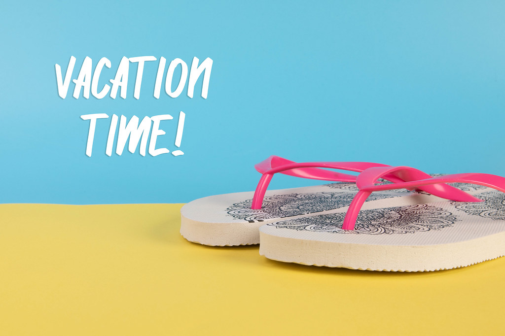 Flip Flops shoes with Vacation time text