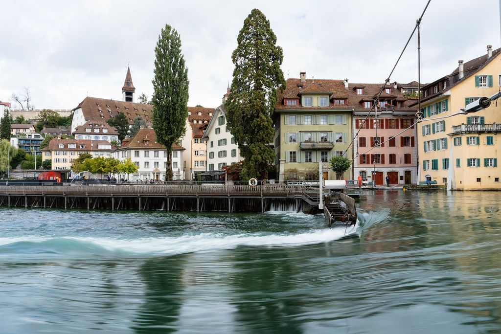 Flow on Reuss river in downtown Lucerne, Switzerland