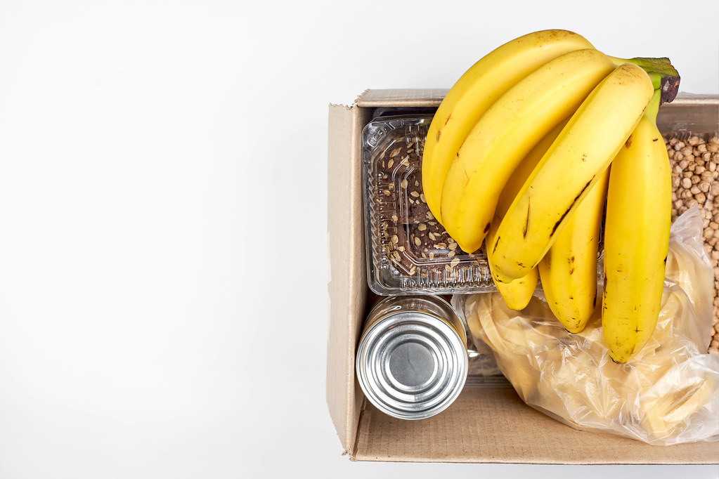 Food donations and food bank concept with copy space