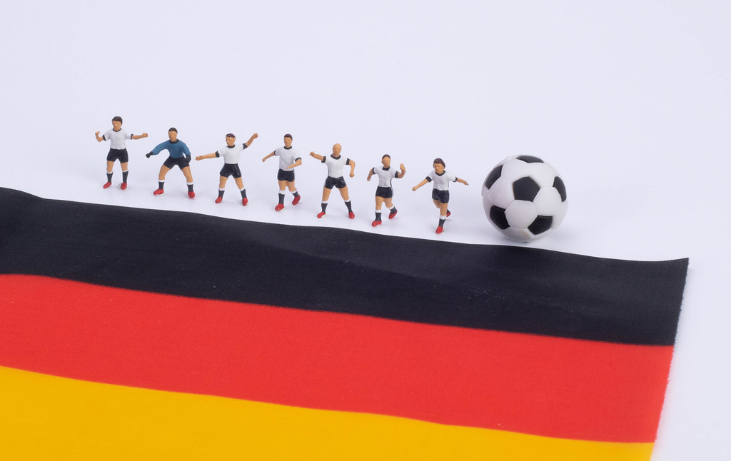 Football players and flag of Germany