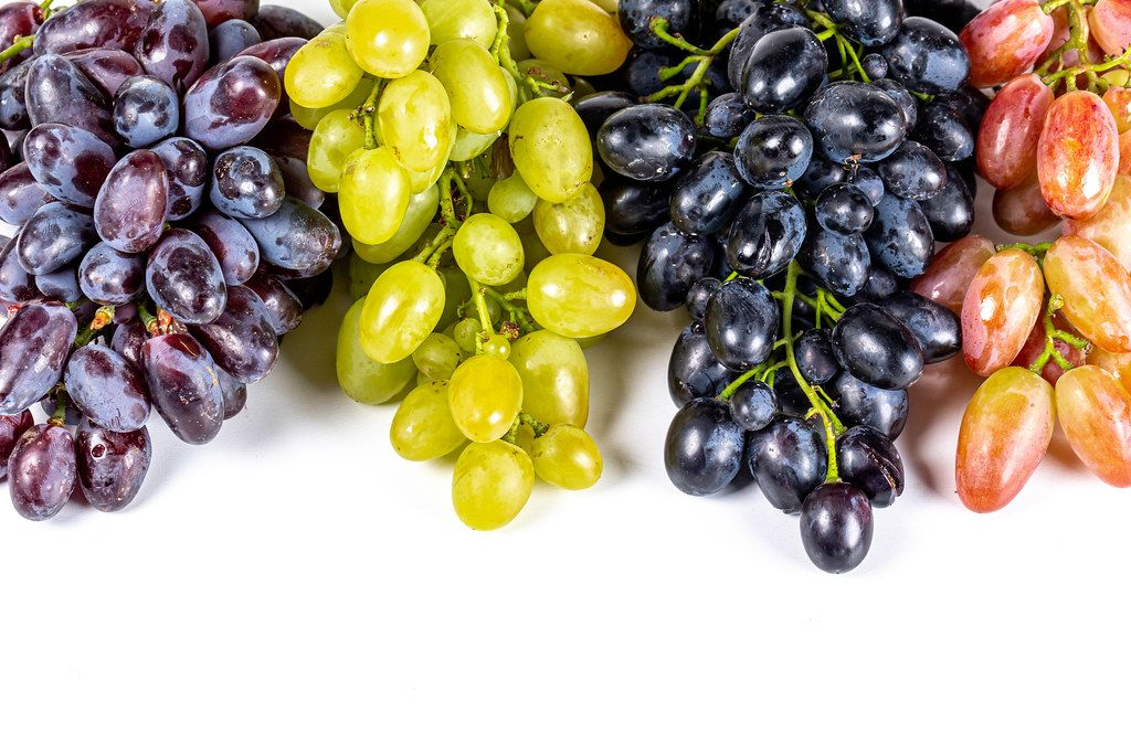 Four varieties of ripe grapes on white