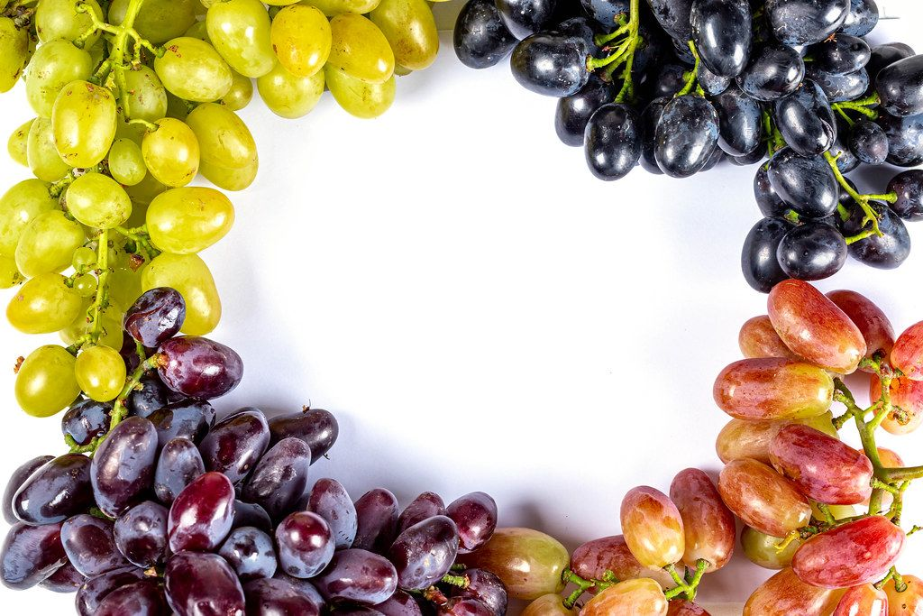 Frame from grapes of different varieties, top view