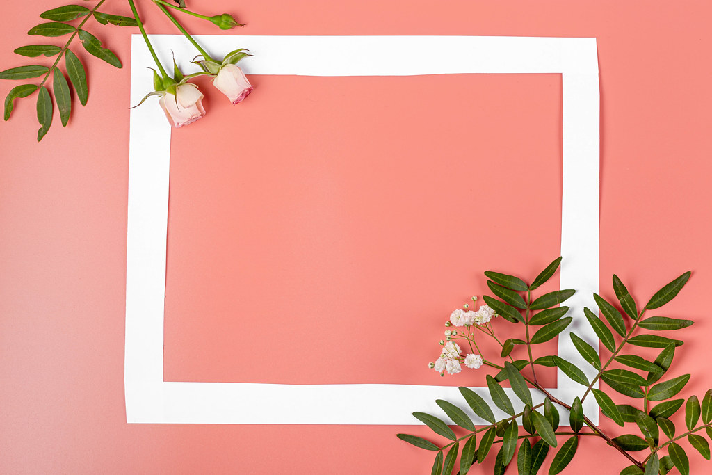 Frame on pink background with green leaves and roses, mother
