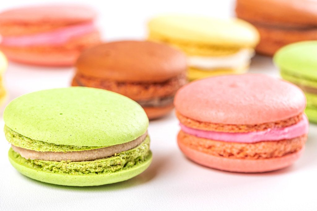 French style colorful macaroons on white