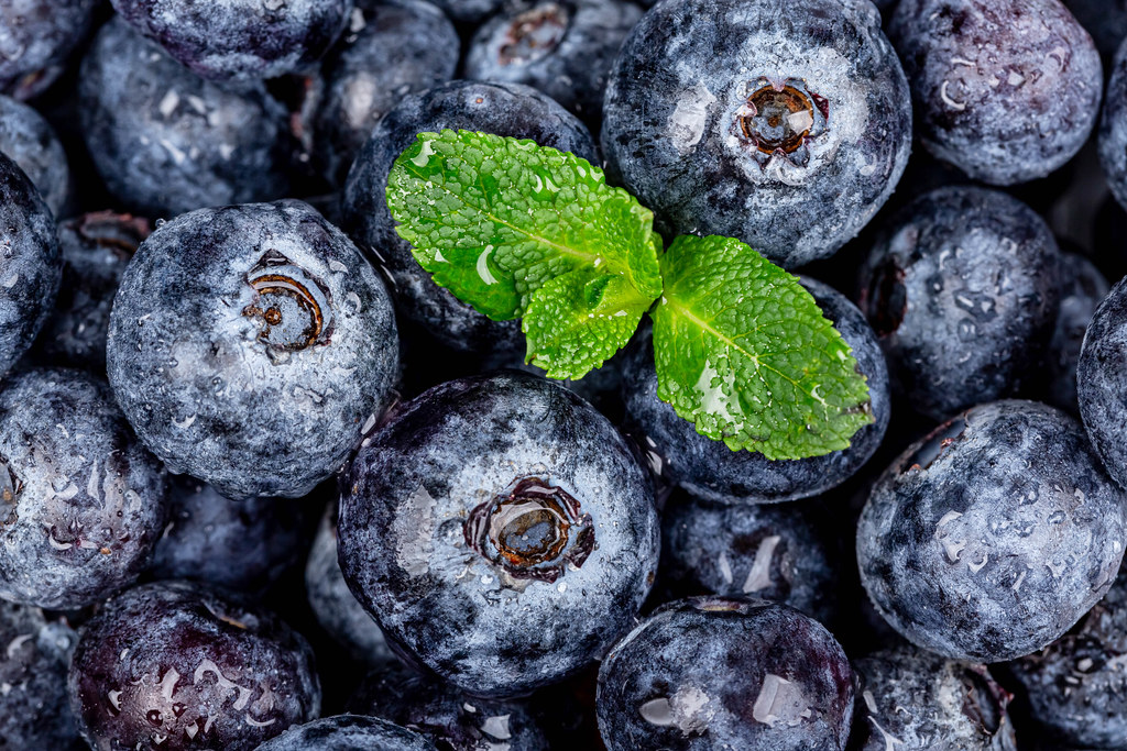 Fresh blueberries with mint leaves