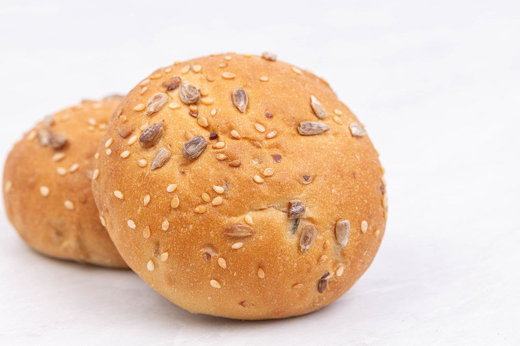 Fresh Buns above white background with copy space