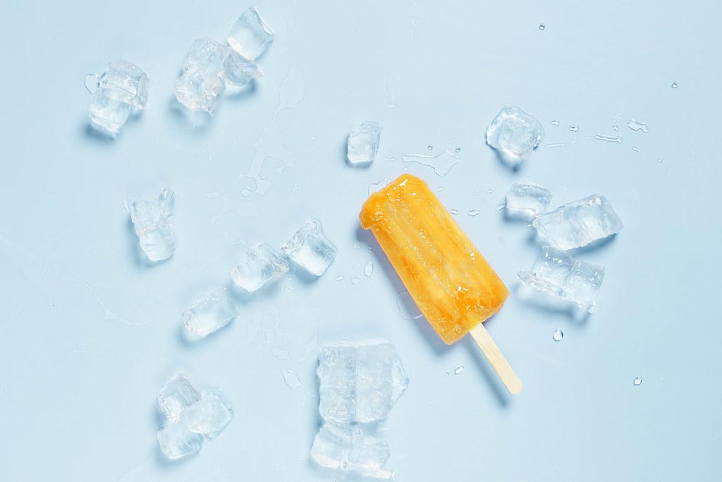 Fresh fruit ice cream and ice cubes