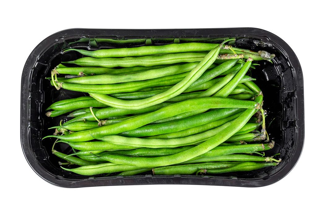 Fresh pods of green beans, top view