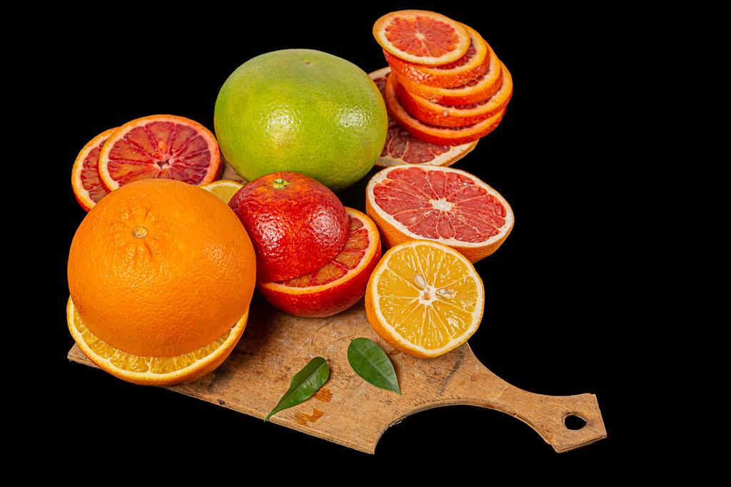 Fresh ripe multicolored citrus fruits