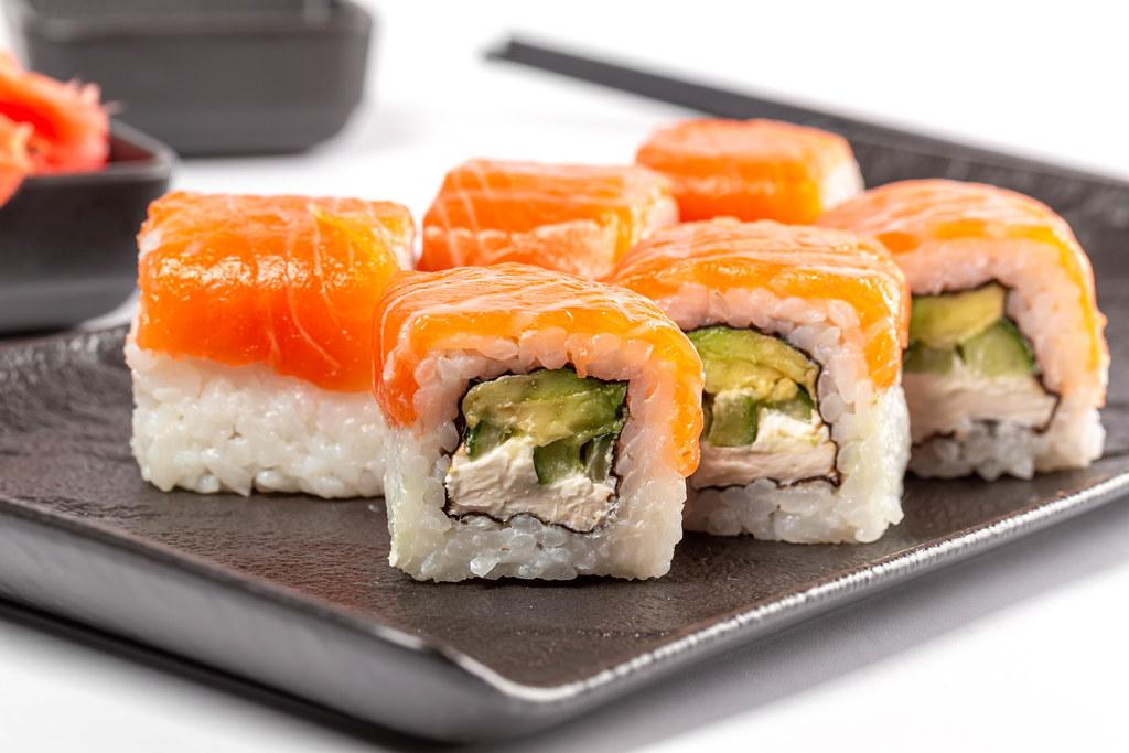Fresh sushi philadelphia with salmon