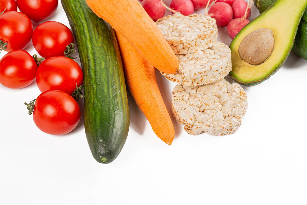 Fresh vegetables and diet breads, healthy food concept