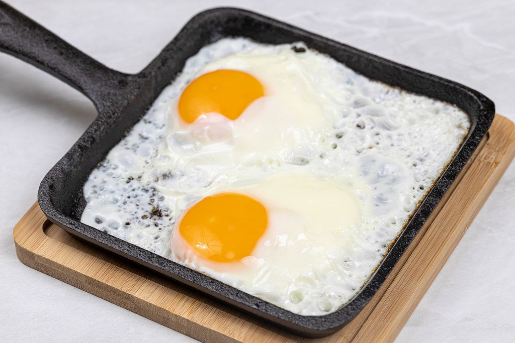 Fried Eggs in the hard black frying pan