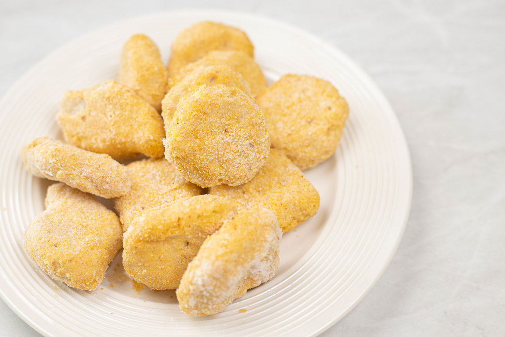 Frozen Chicken Nuggets ready for frying