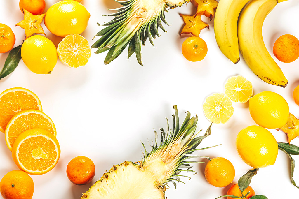 Fruit frame on white with free space