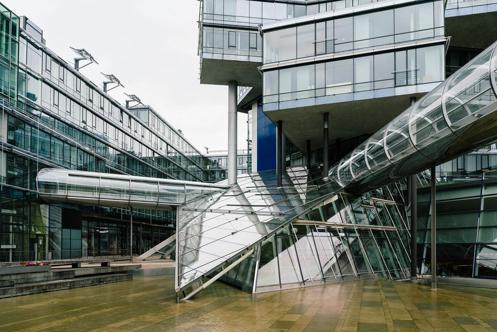 Futuristic building of Norddeutsche Landesbank (NORD LB) made of glass and metal by Behnisch Architekten