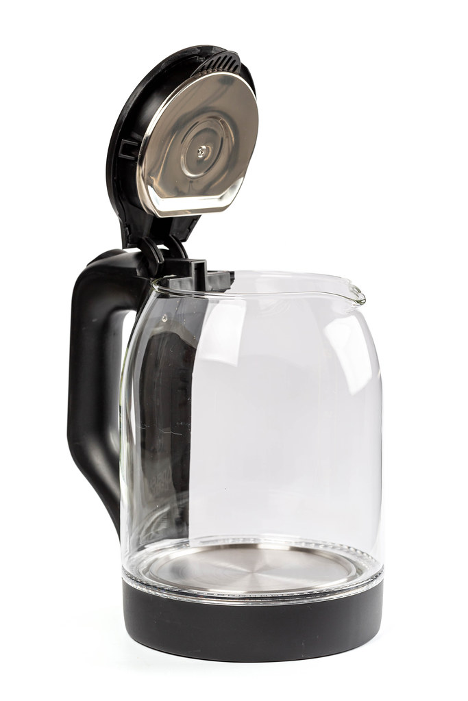 Glass electric kettle with open black lid