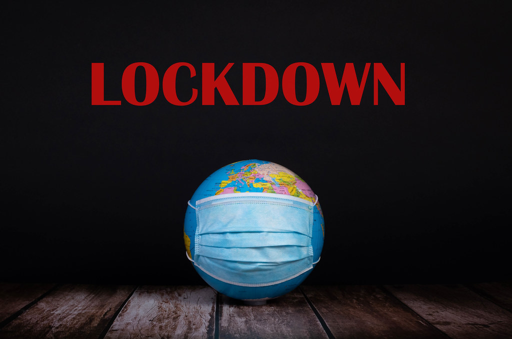 Globe with face mask and Lockdown text