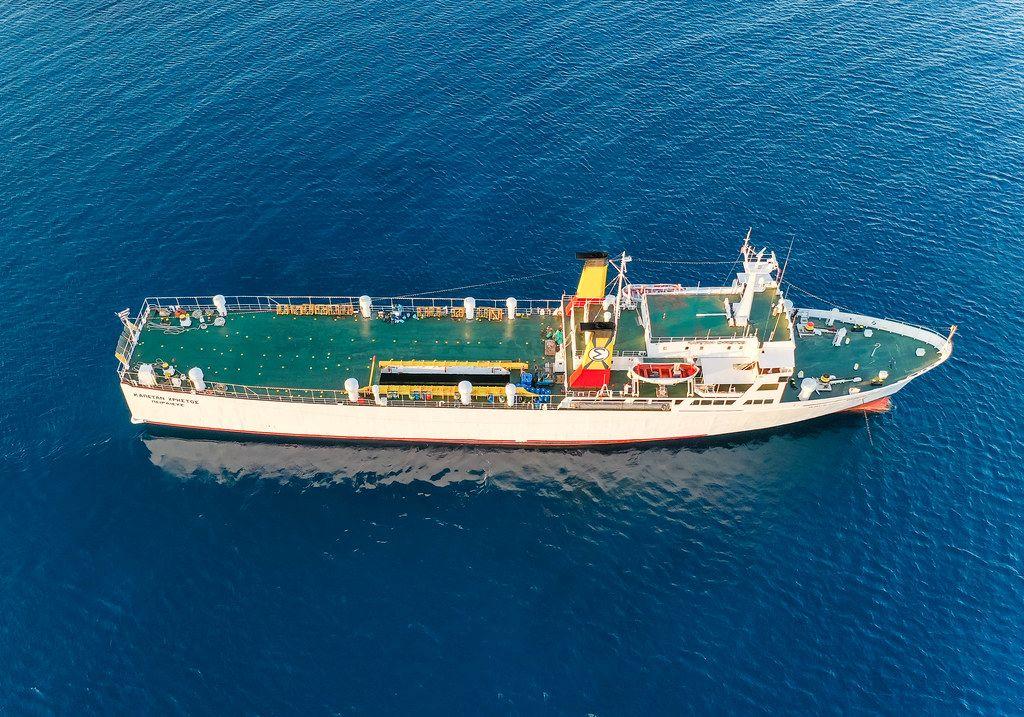 Greek freighter Kapetan Christos in the southern Aegean Sea. Aerial view