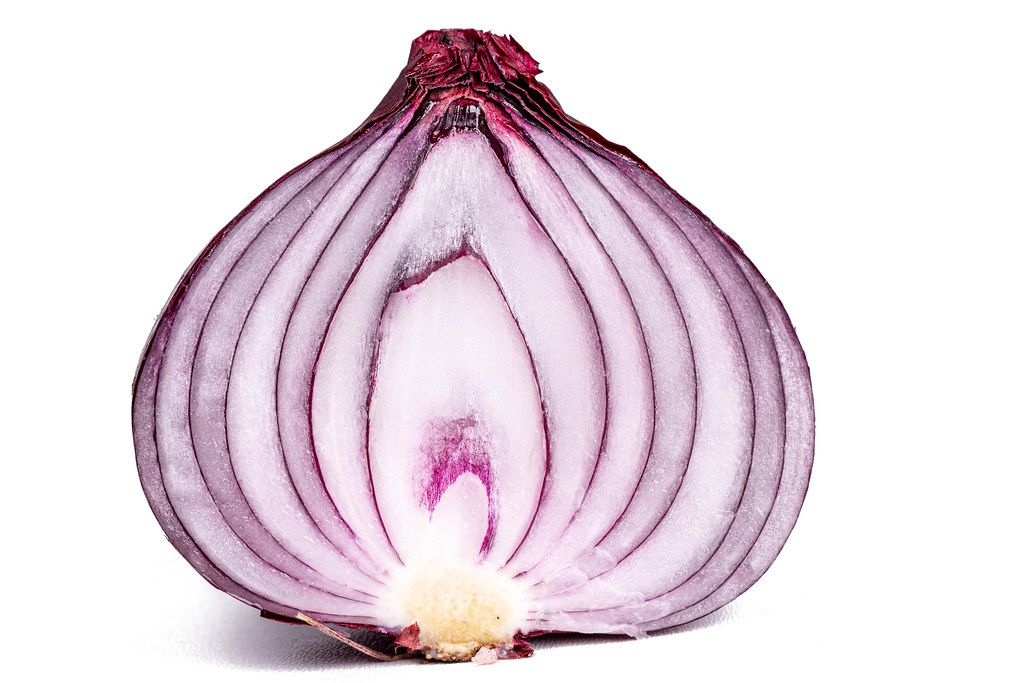 Half of a purple onion, close-up