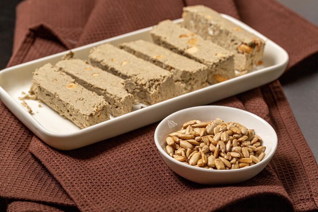 Halva with peanuts and sunflower seeds