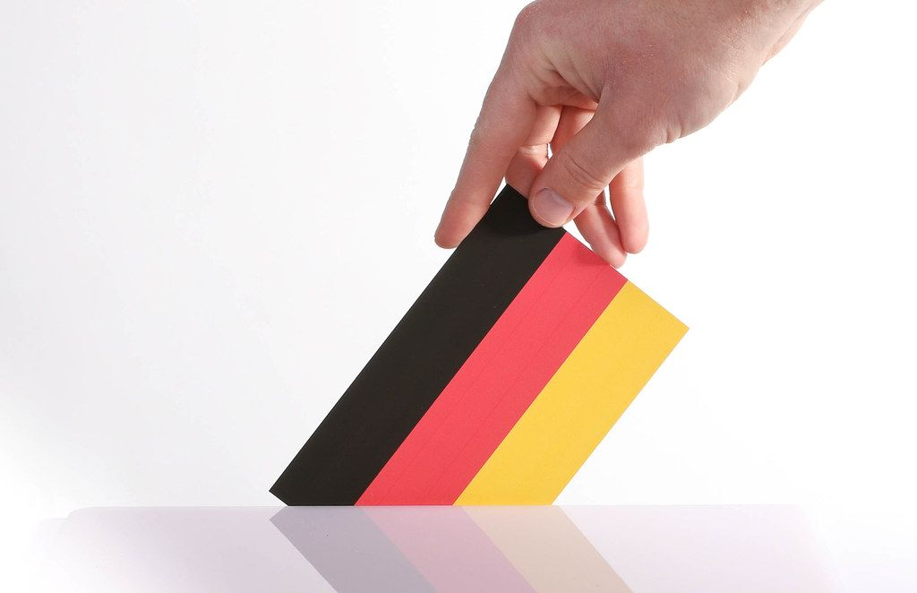 Hand holding German flag. German election concept