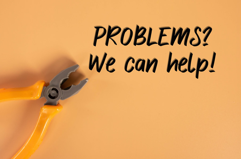 Hand pliers with Problems? We can help text on orange background