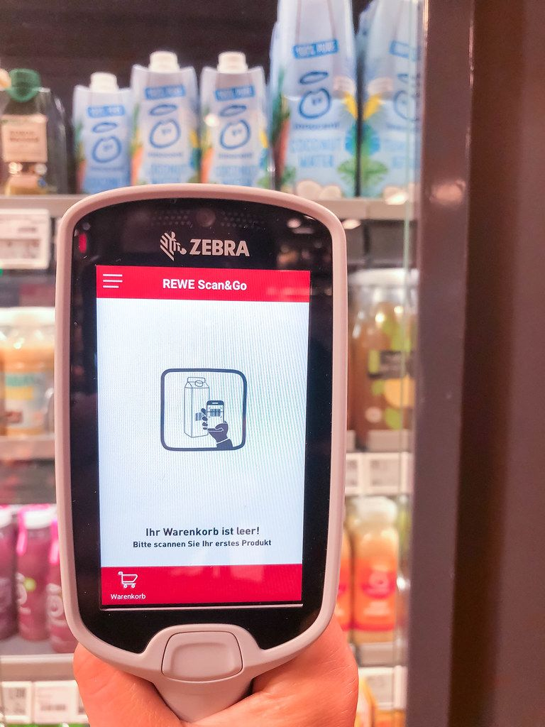 Handheld scanner from Rewe Scan&Go. Faster shopping, avoiding queues at German supermarket