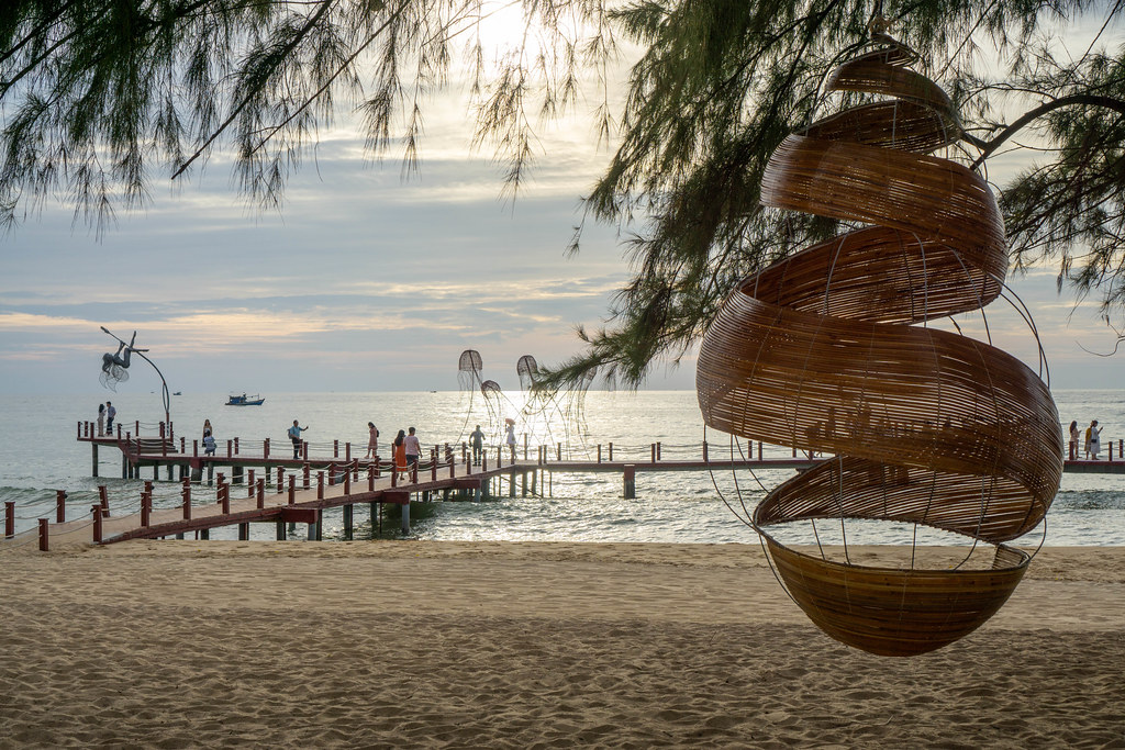 Hanging Lantern Decoration at Sunset Sanato Beach Club with Photoshoot Footbridge and Sea in the Background on Phu Quoc Island, Vietnam