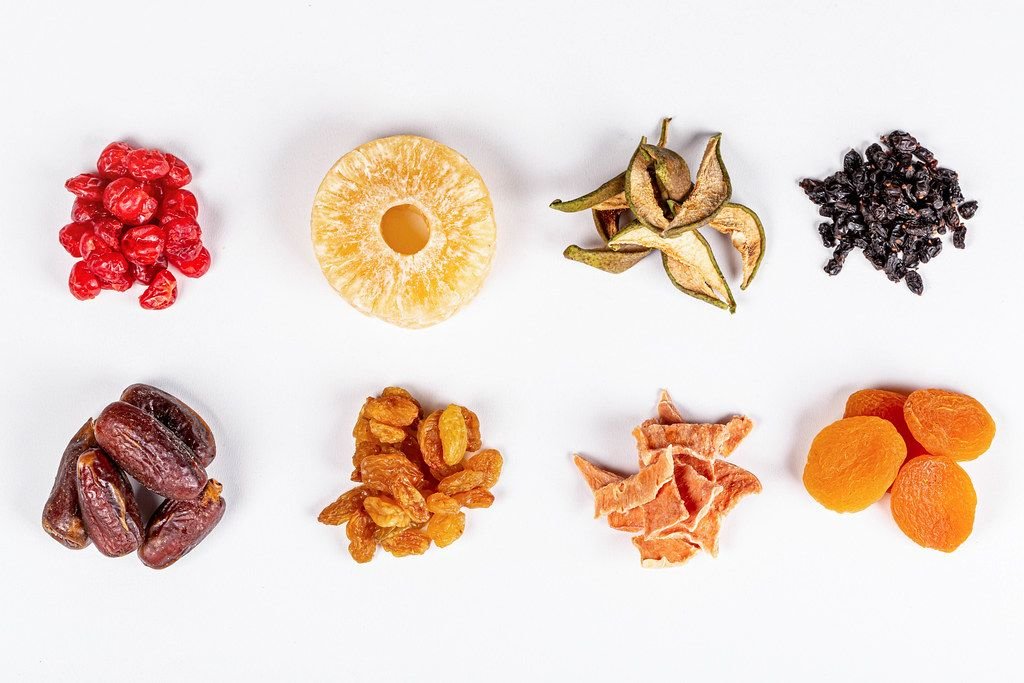 Healthy food concept, assortment of dried fruits and berries