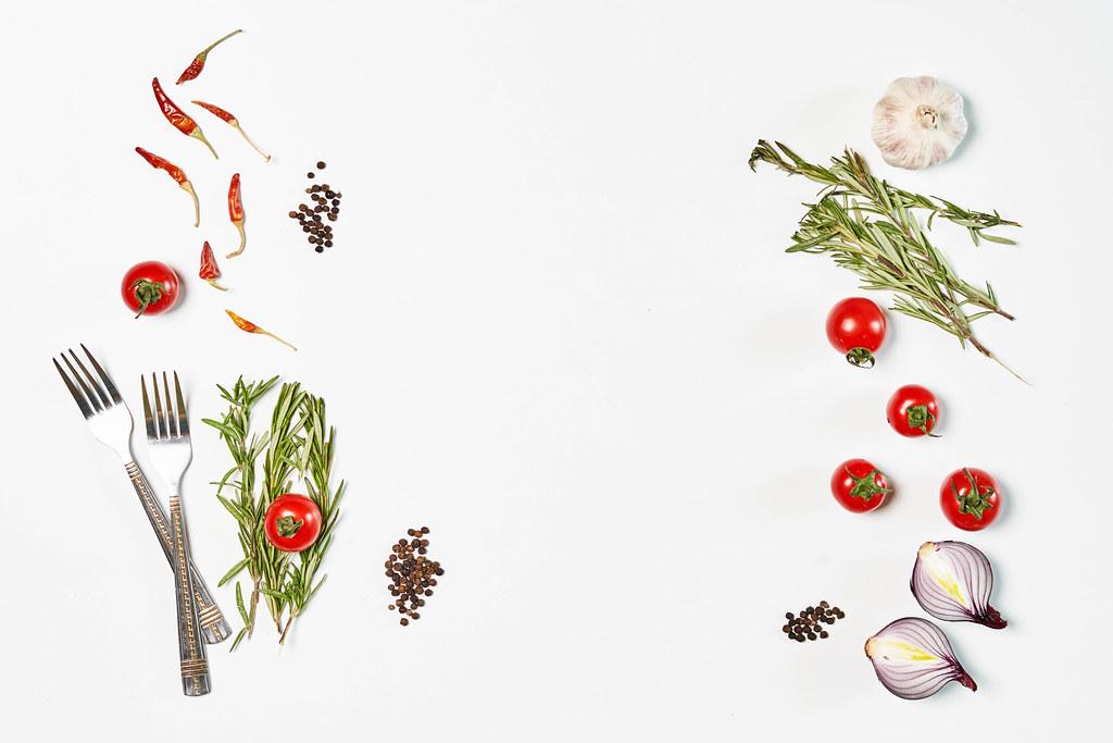 Healthy vegetables and herbs based salad ingredients