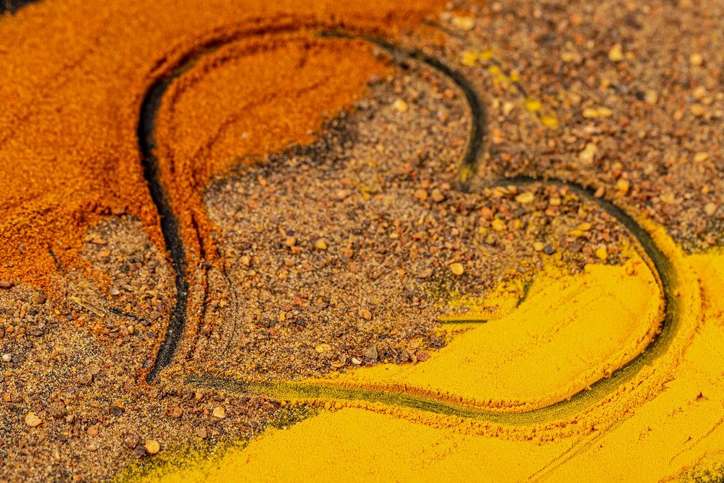 Heart drawn on sprinkled seasonings, close-up