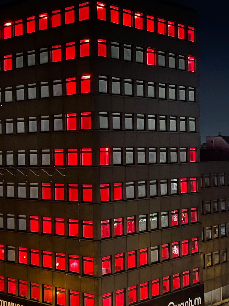 Heart illuminates the building at Hohenzollernring 62 in Cologne to give courage to the city during the lockdown