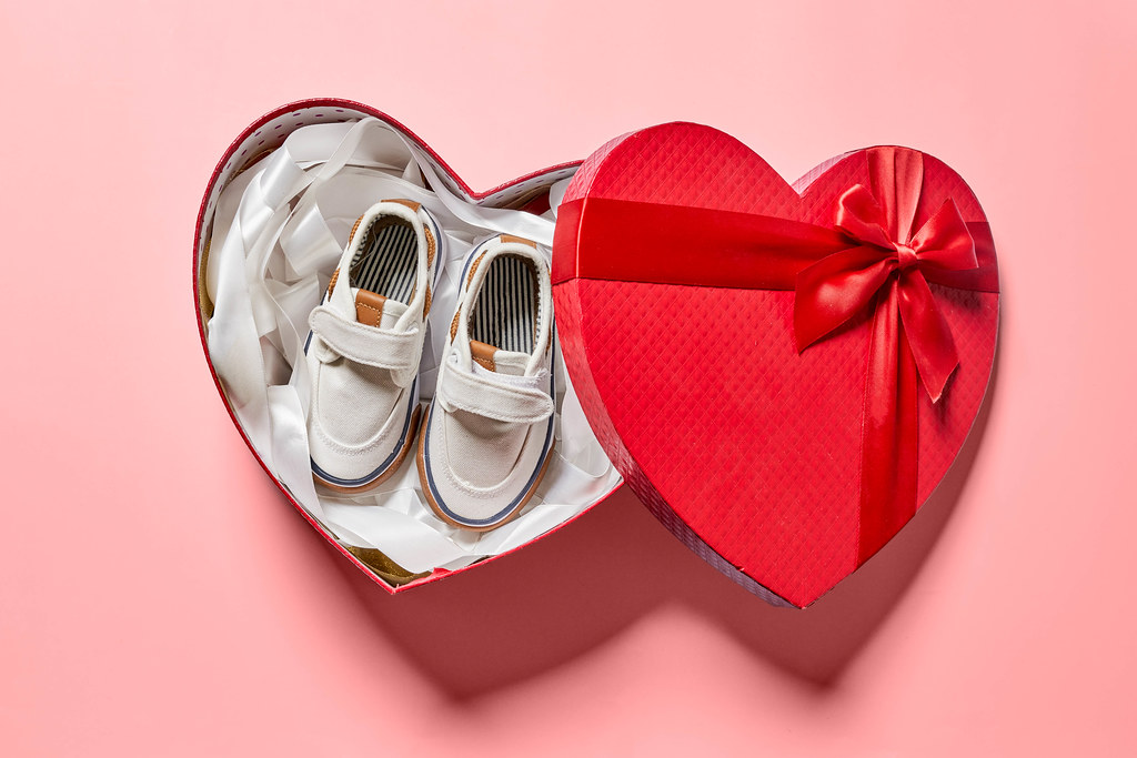 Heartshape gift box with new baby