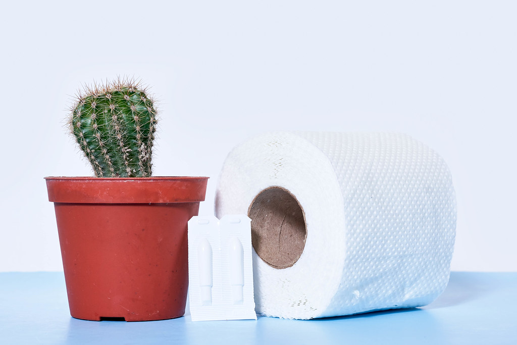 Hemorrhoidal suppository, toilet paper roll and cactus plant - concept of hemorrhoids