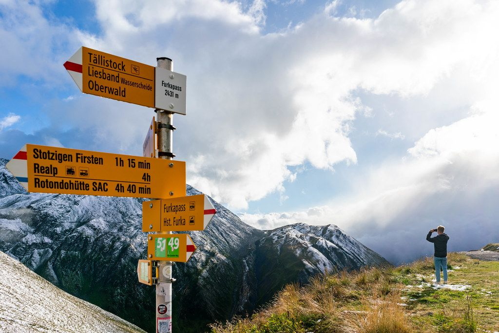 Highest point of Furkapass at 2431 meters with an amazing view