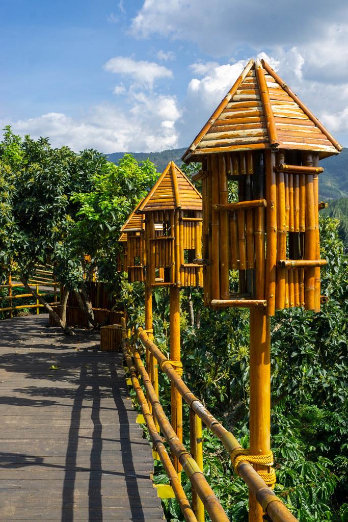 Holzbrücke in einer Kaffeeplantage mit Bambus Geländer und Vogelhäusern im Me Linh Coffee Garden in Dalat, Vietnam