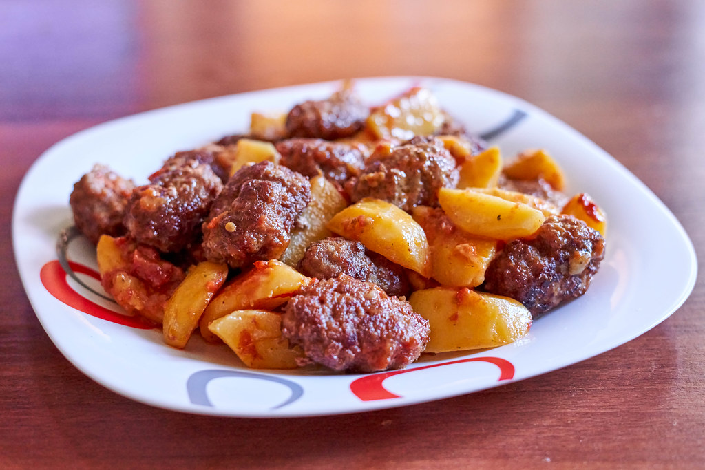 Homemade cutlets with potatoes
