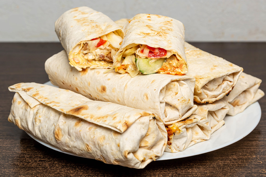 Homemade shawarma with vegetables and chicken