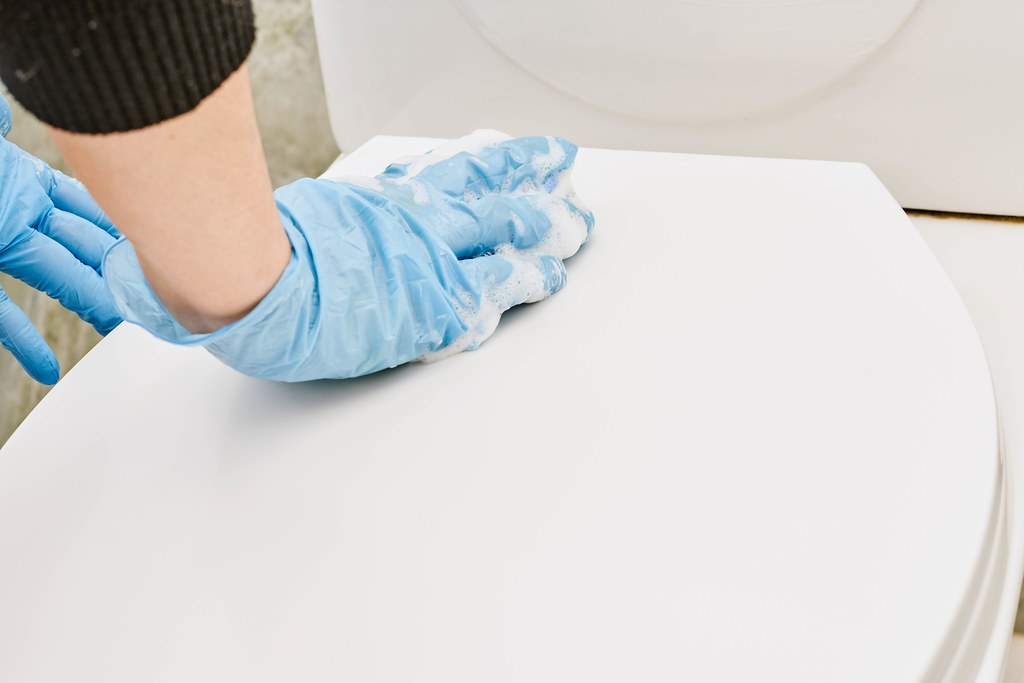 Housewife cleaning toilet seat cover with foamy sponge