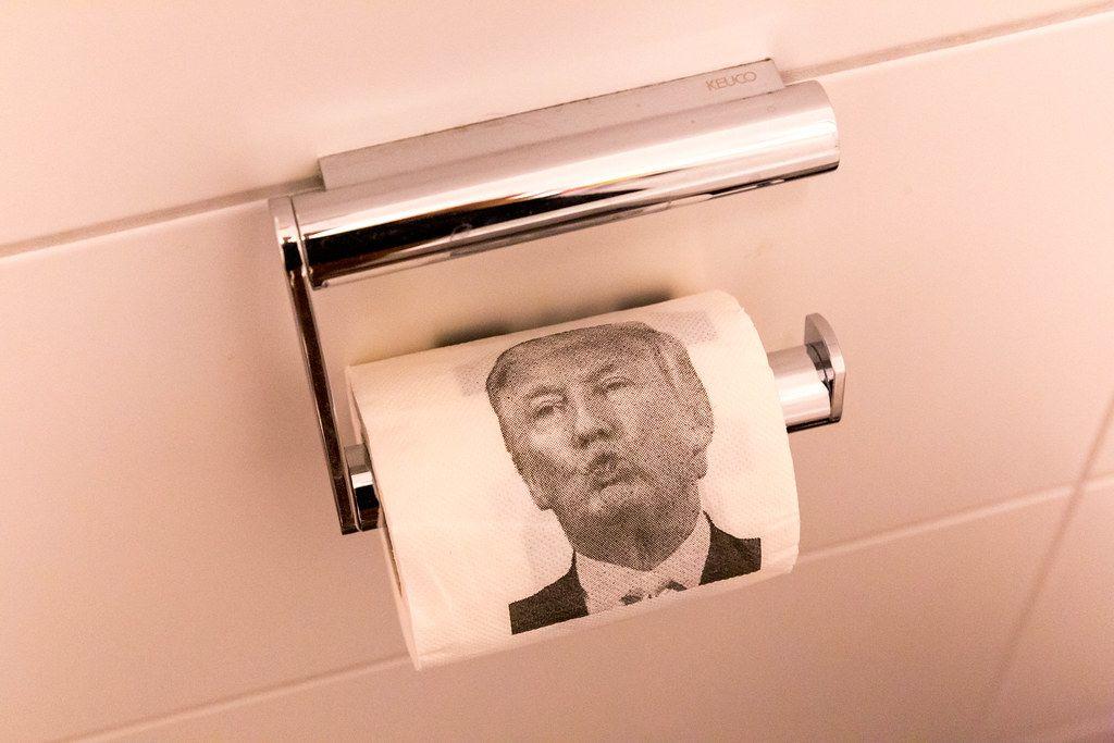 Ideen fürs Badezimmer: Toilettenpapier mit dem Gesicht von US-Präsident Donald Trump