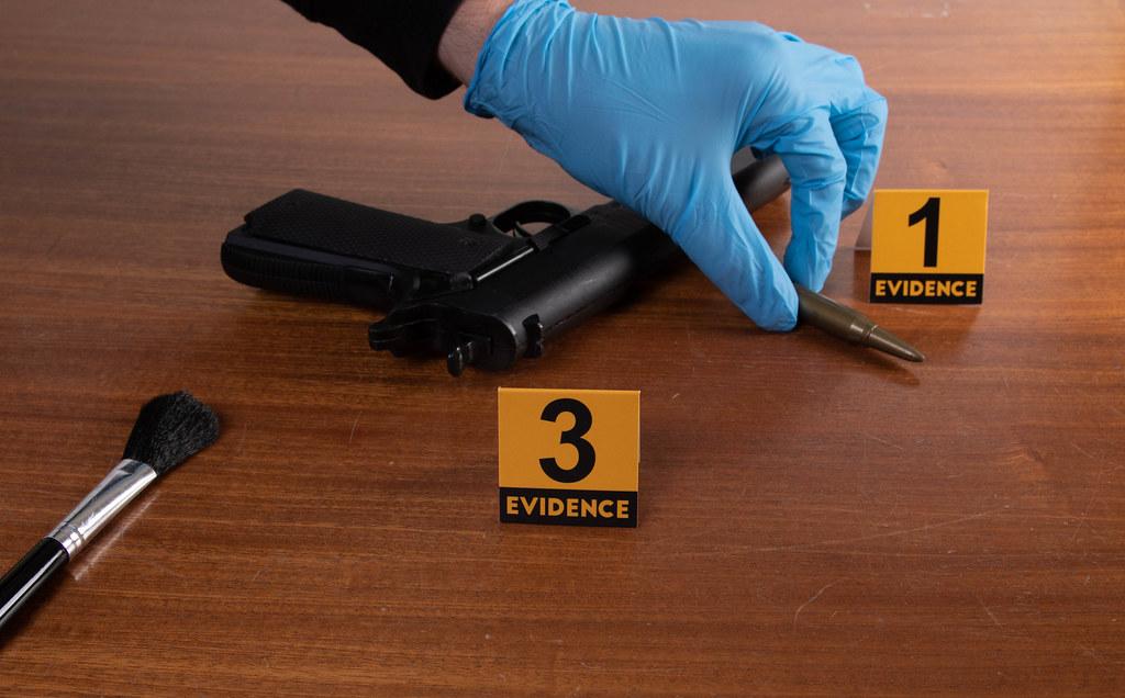 Investigator working at crime scene