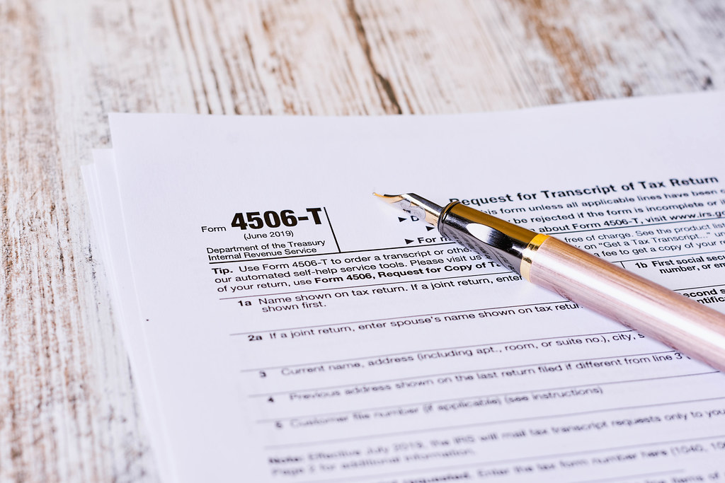 IRS Form 4506-T. Request for Tax Transcript