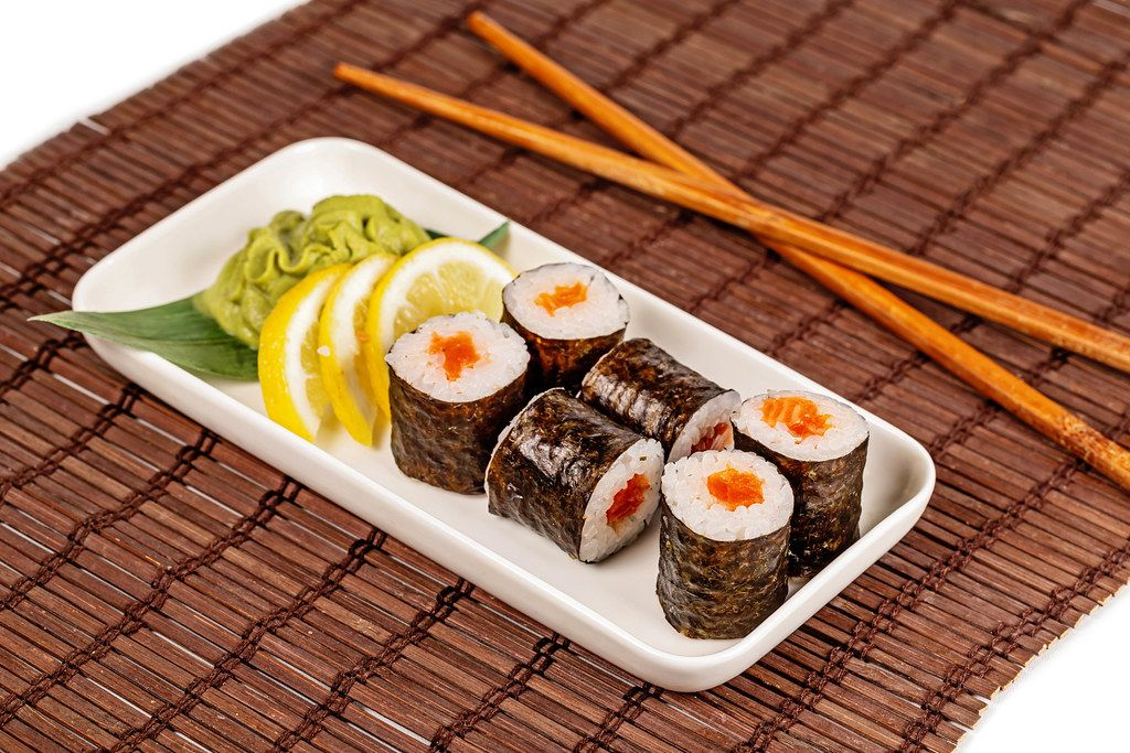 Japanese food-fresh Maki rolls with salmon