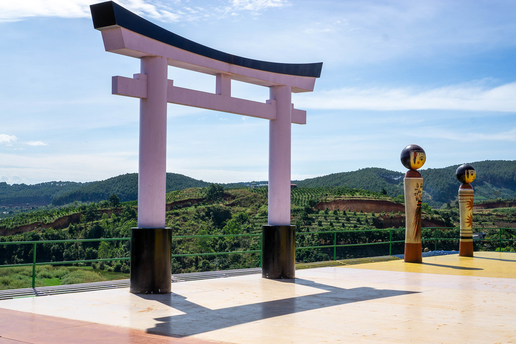 Japanese Torii Gate next to two Japanese Characters Characters on a Terrace of Me Linh Cafe in Da Lat, Vietnam