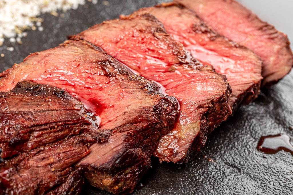 Juicy fresh grilled filet mignon, close-up