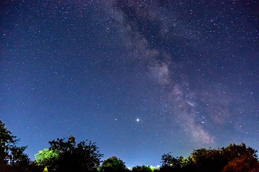 Jupiter and Mars from the parade of planets against the milky way