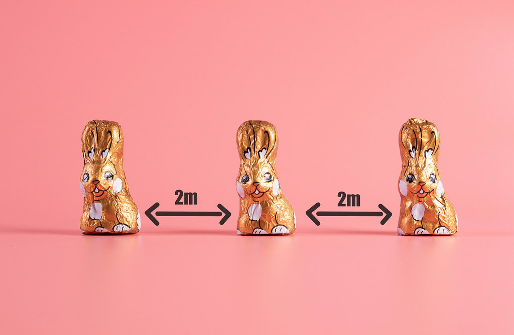 Keep your distance concept with chocolate easter bunnies