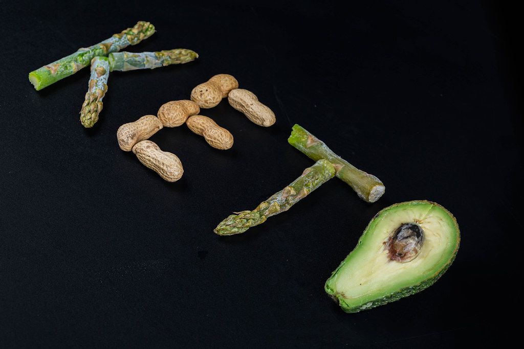 Keto word made from food on black background